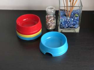 Paws n Bones Plastic Bowl (S ; 12cm) - Red, Blue, Yellow