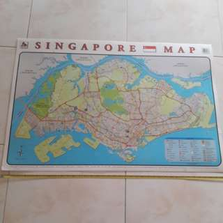 Old map of Singapore. year2000.  Large.  100cmx70cm
