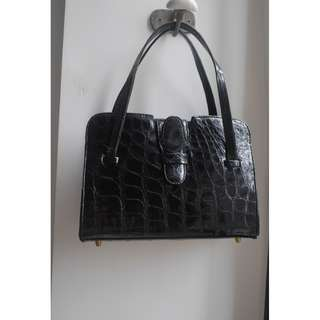 """VINTAGE"" Black Crocodile Leather Double Handles Handbag"