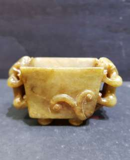 Old Nephrite carving of square incenser.