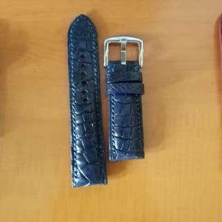 22/20mm Dark Blue Unique Hand-made Alligator Leather Watch Strap