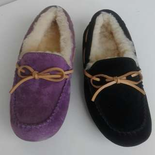 Edgii ugg slippers size 6 mis matched colors purple and blue