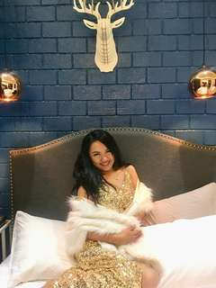 Designer's Gold Long Gown with white fur shawl
