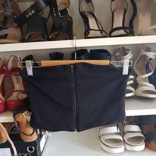 Kookai Black Matte Zip Strapless Bandeau Crop