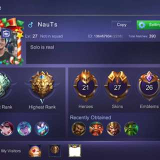 ML Account 27 Skins | 7 Epic Skins | Legend 5 | Many More! MOBILE LEGENDS IOS