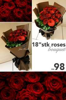 "18""stk FRESH roses bouquet"