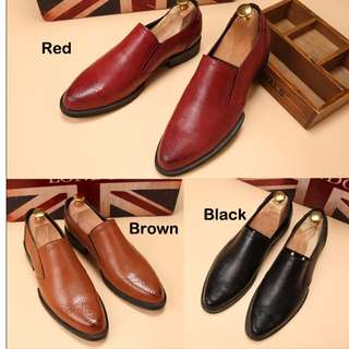 Men's Leather Dress Shoes (3 Colors Available) (All Sizes Available) + Free Delivery