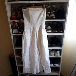 Bardot Bandeau Pleated Jumsuit Strapless White