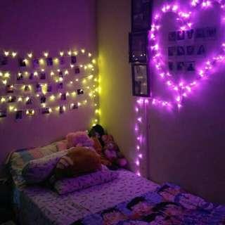 lampu tumblr dan tirai benang love