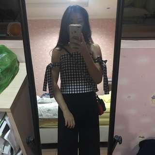 Black tied checkered top