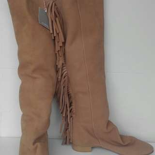Zara genuine tan leather knee hight boots