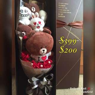 【$399】Line Friends Brown 熊大 兔兔 精美禮盒 花束 公仔花束 可愛 情人節 畢業 生日 示愛 紀念日禮物 氹女仔、氹朋友、氹家人一流👍👍 *罕有款式,實物拍攝,送精美禮盒 💘A precious gift for your love