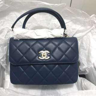 Chanel trendy cc handle small blue bag
