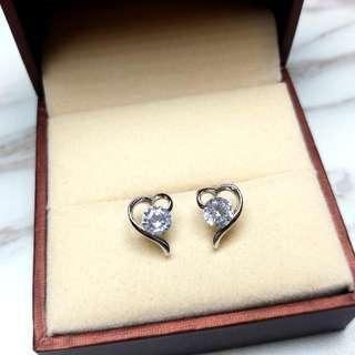 日本心型水晶防敏感閃亮耳環 Japanese Heart-Shaped Crystal Anti-Sensitive Sparkling Earrings