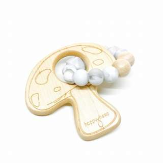 Happy Hero Maple Wood Mushroom with BPA-free Silicone Beads Teething Toy