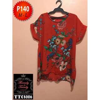 Red orange floral blouse