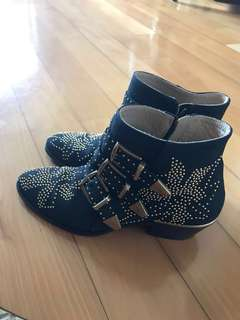 Chloe 100% authentic - size 35.5 Chloe Susanna boots (black leather gold buckles) retail price:HK$8xxx