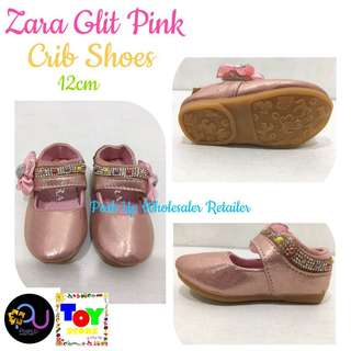 Zara Glit Pink Crib Shoes
