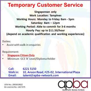 Temporary Customer Service/ Singaporean only