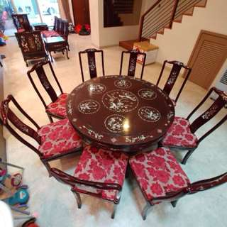 Antique Rosewood Dining Table & Chairs