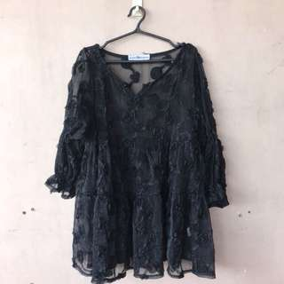 Black Lace Long Top