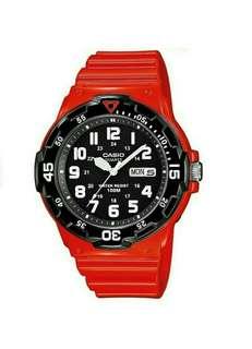 Original Casio Red Resin Strap Watch MRW-200HC-4BVDF