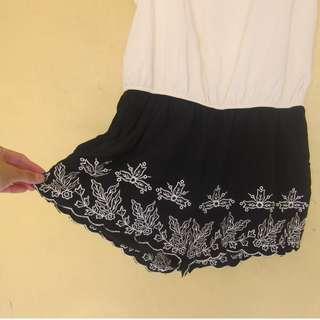 White and Black Romper Shorts