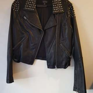 Topshop studded leather jacket (US 6)