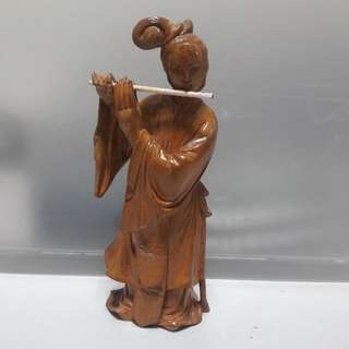 Wood Crafted Lady With Flute - 17cm