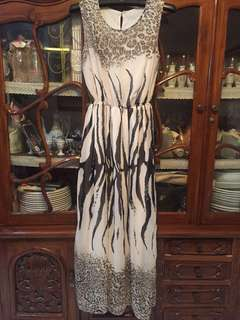 Dress pesta corak macan+zebra..bahan sifon+furing.fit to L