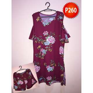 Red floral bakuna dress with slits on the side and shorts terno