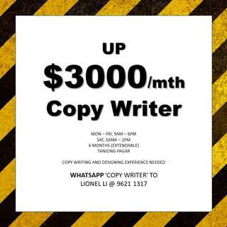 Copywriting cum Designing // Up $3000 // experience required