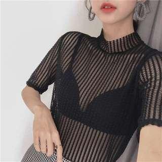 歐洲站性感鏤空顯瘦短袖T恤女夏 修身透視網紗打底蕾絲衫時尚上衣