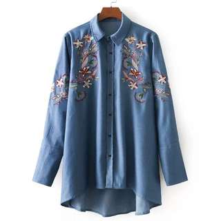 2018 European station spring new fashion flower embroidery denim shirt
