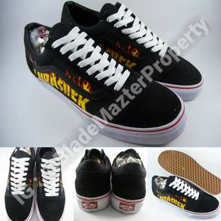 Sepatu Kets Sneakers Vans Old Skool X Thrasher Black White Hitam Putih