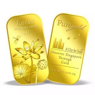 Puregold 1g Lotus Gold Bar 999.9 Fine Gold (Cheapest at Spot Price)