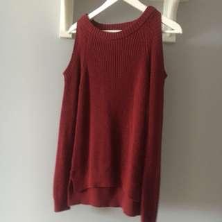 Deep Red Cold Shoulder Knitted Jumper