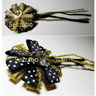 Golden Black Flower Ribbons Brooch Sellzabo Colour Accessories Ladies Girls Women Female Lady