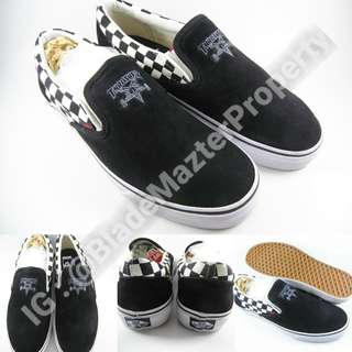 Sepatu Kets Vans Slip On Pro Thrasher Checkerboard Suede Black White Hitam Putih