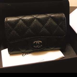 Chanel card holder in silver hardware
