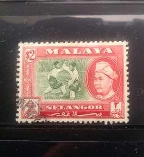 Malaya 1957 Selangor Def $2 Used (MA1095A)