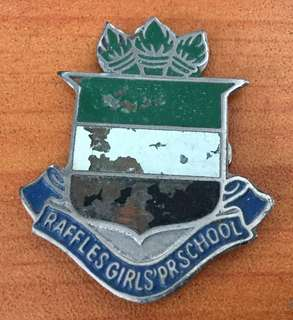 Vintage...RAFFLES GIRLS SCHOOL Metal Badge