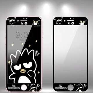 保護膜 IPhone6/7/8/plus : 卡通黑色款XO(企鵝)3D軟邊鋼化膜