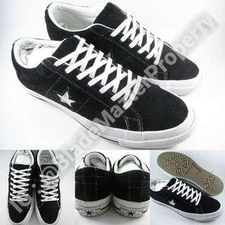 Sepatu Kets Converse OX One Star Suede Black White Hitam Putih