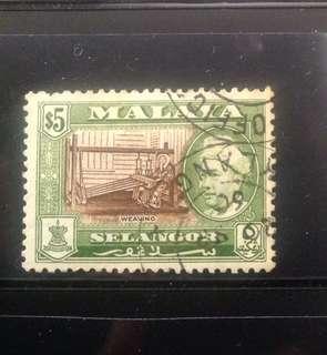 Malaya 1957 Selangor Def $5 Used (M1095B)