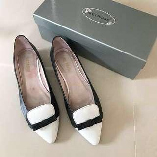 AS黑白撞色珍珠平底鞋39