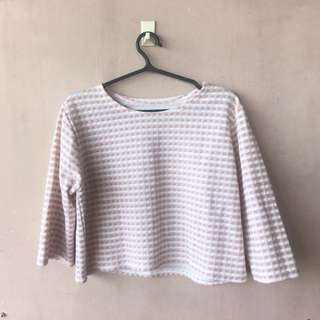 Checkered Pink Semi Crop Top