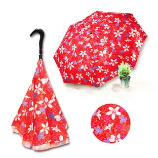 Ye Xin Double-layered Umbrella Cloth Reverse Umbrella Tung Blossom Series (Red)