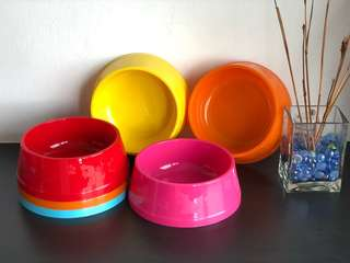 Paws n Bones Plastic Bowl (XL ; 21cm) - Red, Blue, Pink, Yellow & Orange