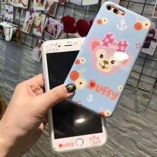 手機殼IPhone6/7/8/plus + 前膜 : 卡通Duffy軟殼